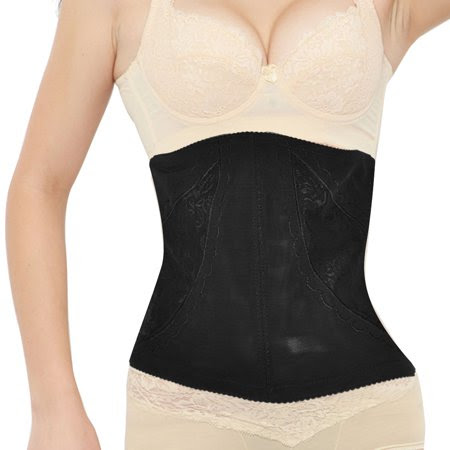 Women's Lace Ornament Adjustable Tummy Underbust Slimming Waist Cincher Black (Size L \/ 12)
