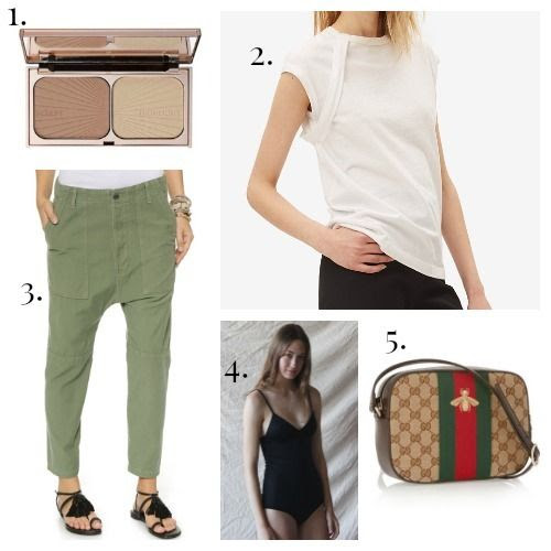 Charlotte Tilbury Bronzer - Helmut Lang Tee Shirt - Citizens of Humanity Pants - Base Range Swimsuit - Gucci Handbag