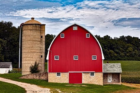 Free photo: Wisconsin, Red Barn, Silo   Free Image on
