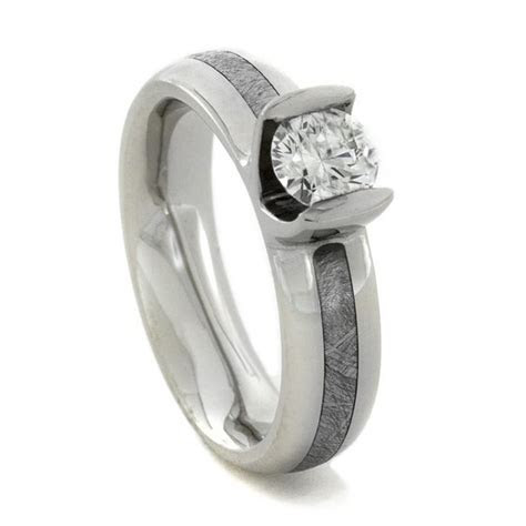 Solitaire Diamond and Meteorite Palladium Engagement Ring