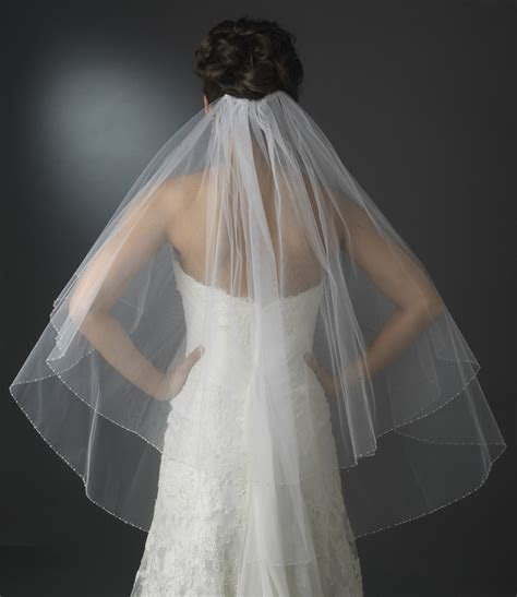 Double Tier Veil in Fingertip Length with Crystal & Pearl