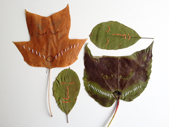 DIY Stitched Leaves