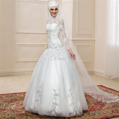 Long Sleeve Muslim Turtleneck Wedding Dresses Ball Gown