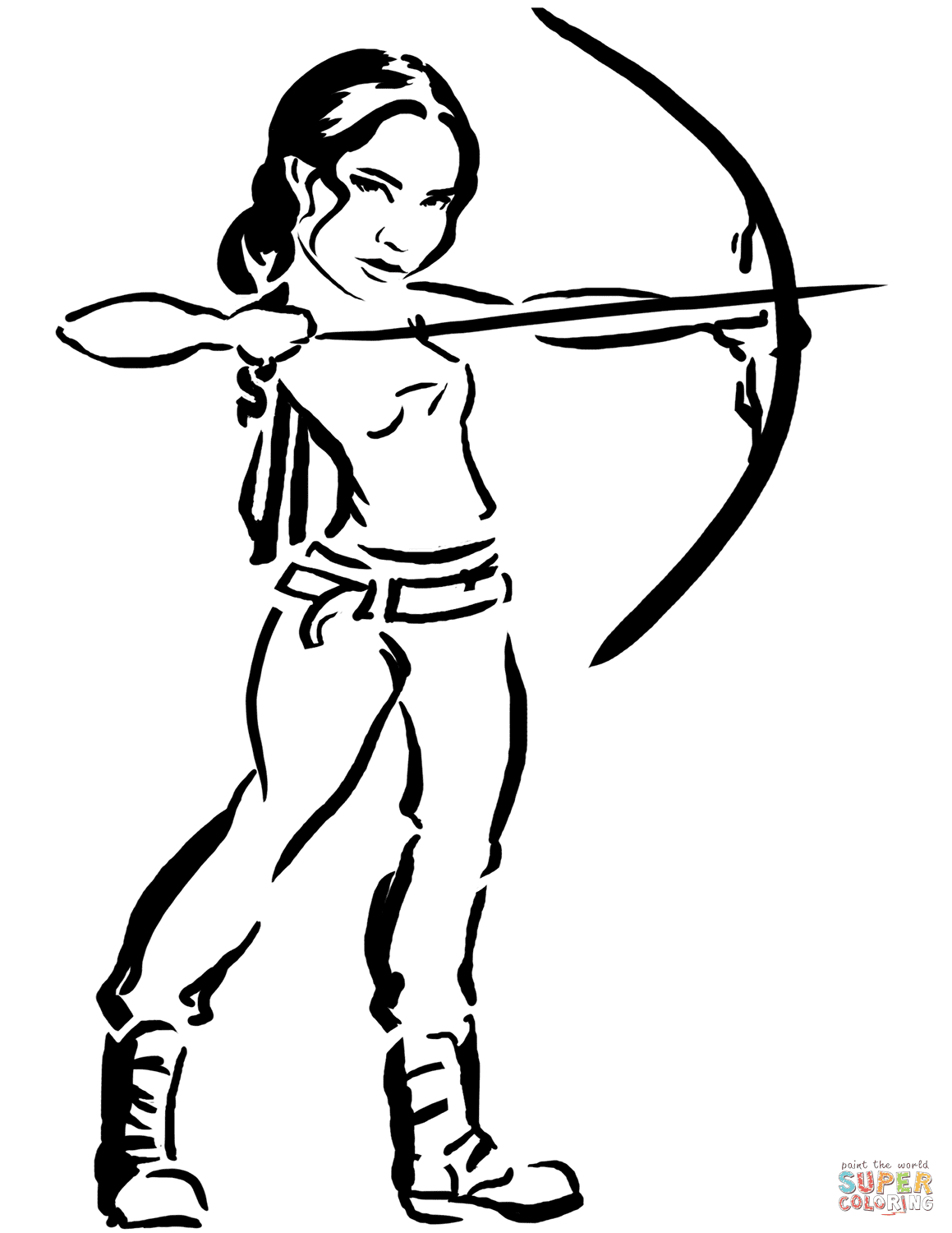 Katniss from Hunger Games coloring page | Free Printable ...