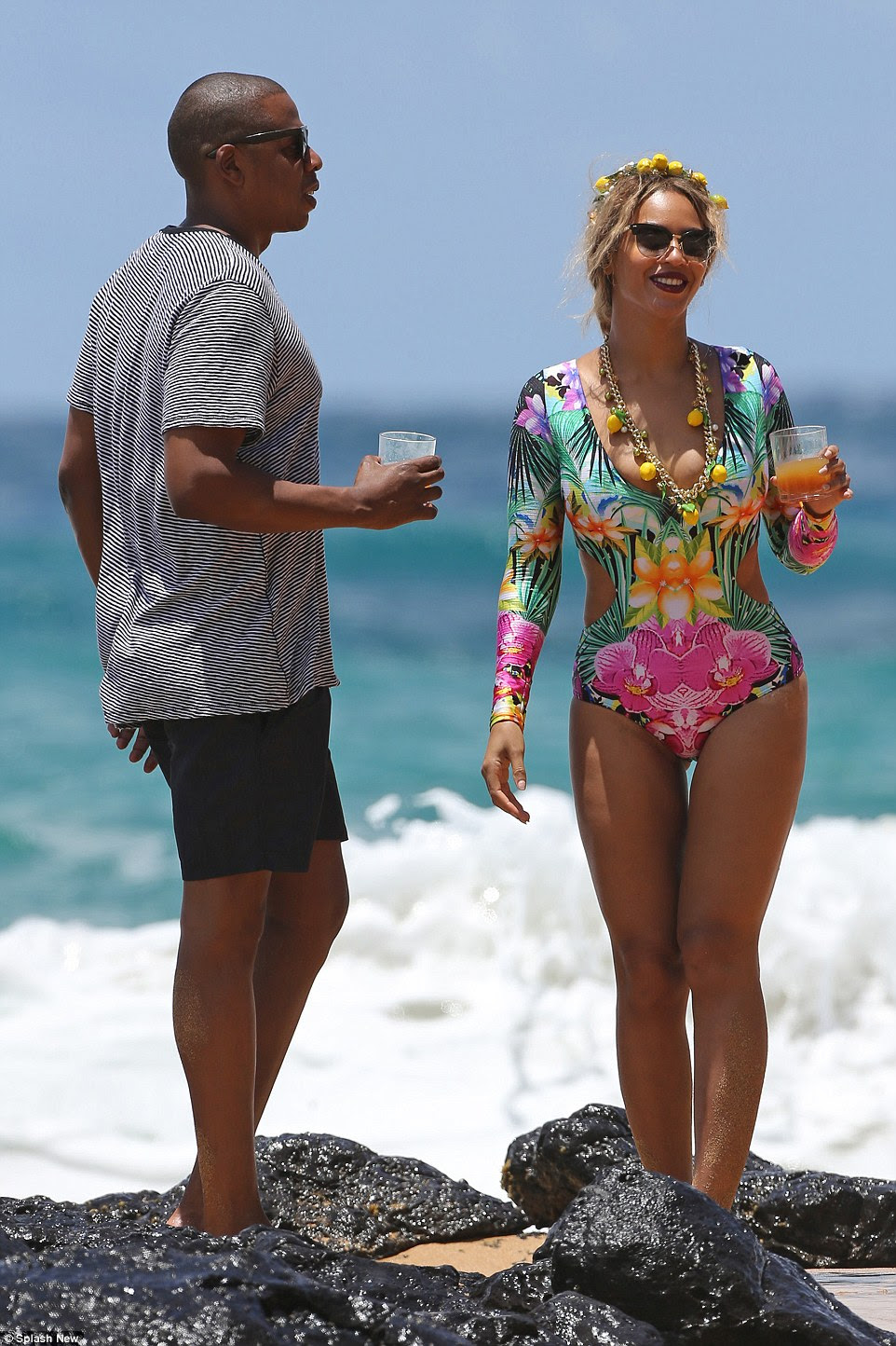 When life gives you lemons: Beyonce was all smiles as they hung out on the beach together