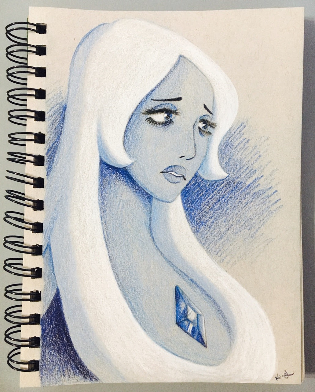 blue diamond on gray toned paper 💎😢
