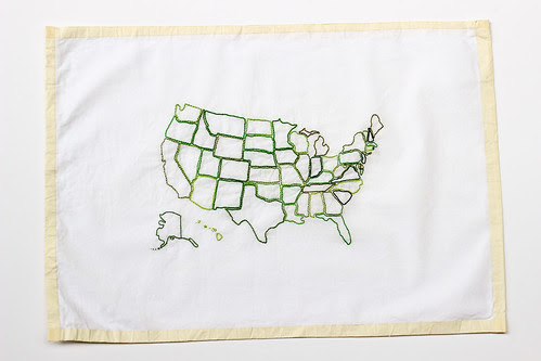 US Map Embroidery by Jeni Baker
