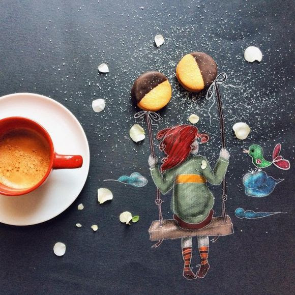 cup of coffee with cookies illustration