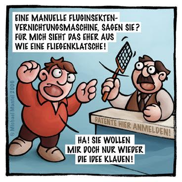 Patentamt Patent anmelden einreichen Erfinder Erfindung erfinden Bürokratie manuelle Fluginsektenvernichtungsmaschine Fliegenklatsche Cartoon Cartoons Witze witzig witzige lustige Bilder Bilderwitz Bilderwitze Comic Zeichnungen lustig Karikatur Karikaturen Illustrationen Michael Mantel lachhaft Spaß Humor Witz