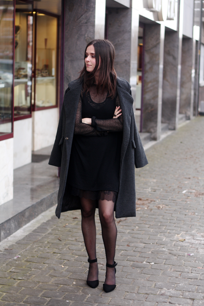 Date Night Outfit: Lace Slip Dress, Oversized Coat