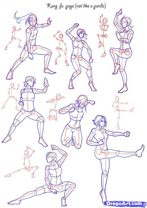 draw fighting poses step