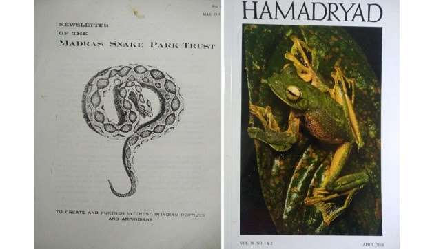 (L-R) The first issue of Hamadryad...and the weighty scientific journal it morphed into