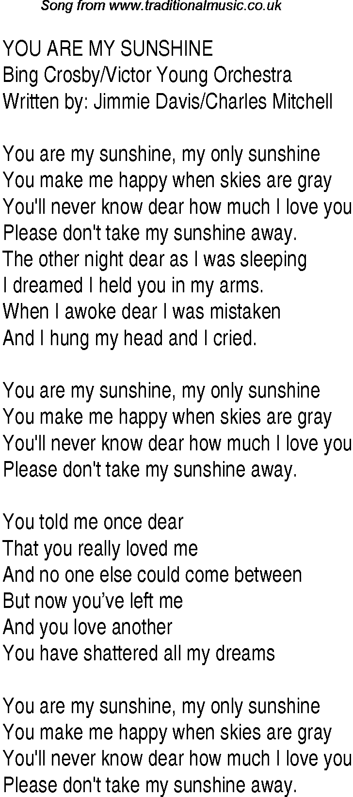 1940s Top Songs Lyrics For You Are My Sunshine