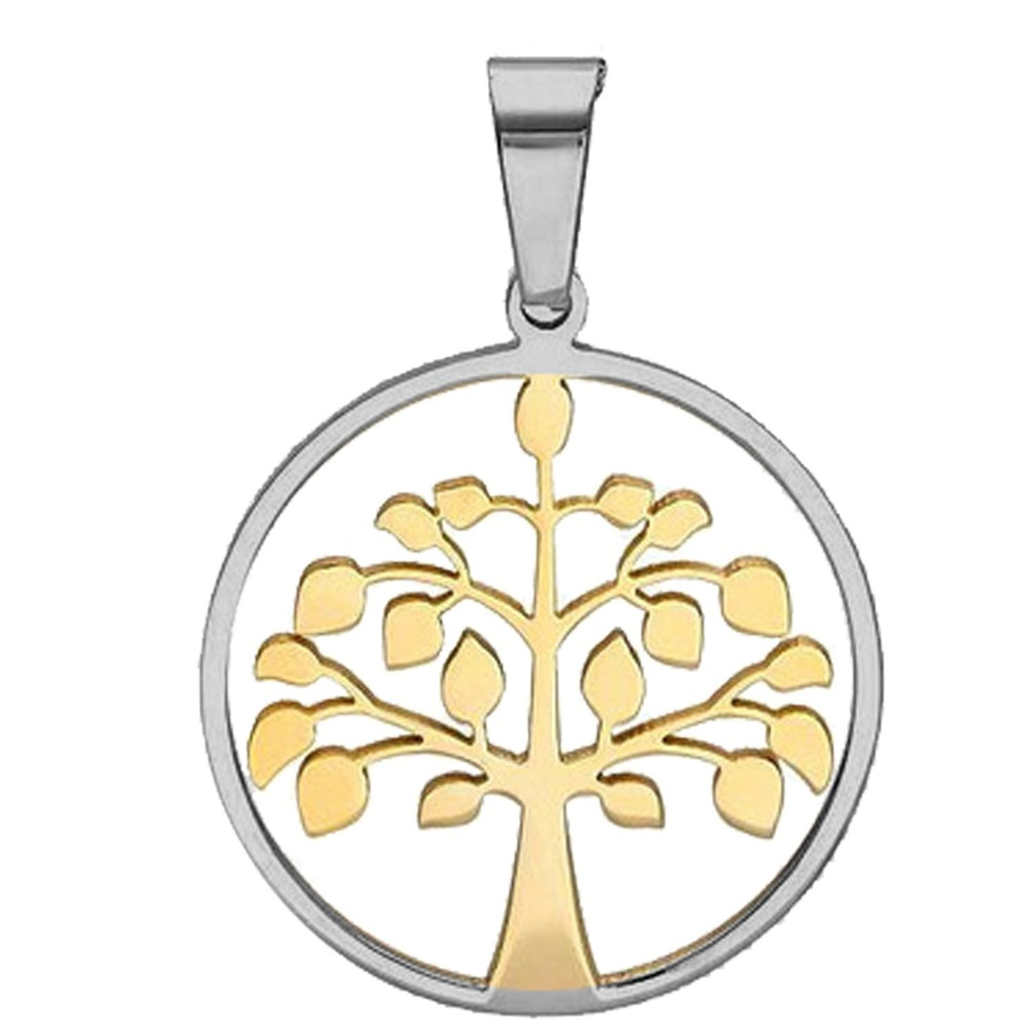 Two Tone Gold And Silver Round Tree Of Life Pendant With Frame 26