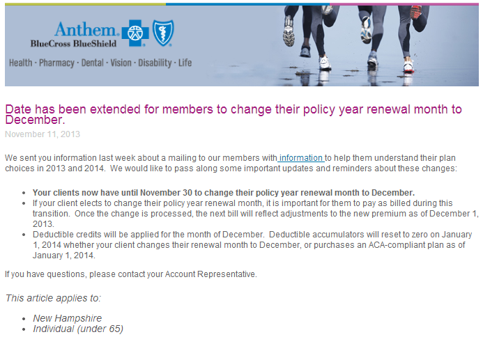 Anthem Extends Renewal Date For Customers Who Want To Keep ...