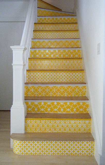 Yellow Stencil Stairs