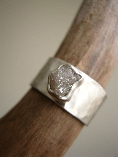 Rough diamond on Wide Hammered band   Engagement, Wedding
