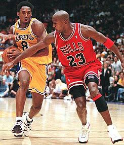 Seen here in a game in 1998, Michael Jordan says he might have fouled out before letting Kobe Bryant get to 81 points.