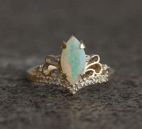 Vintage Marquise Opal Engagement Ring, Solid Gold