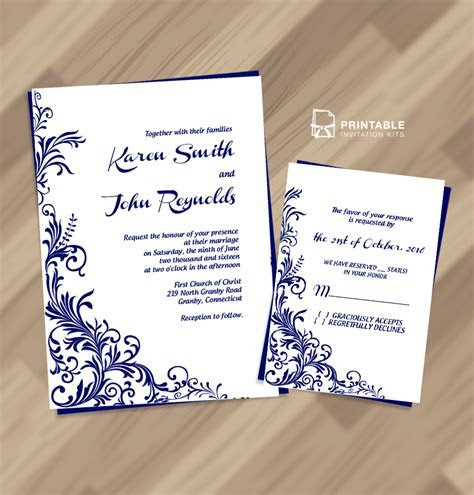 Free PDF Wedding Invitation Download   Foliage Borders