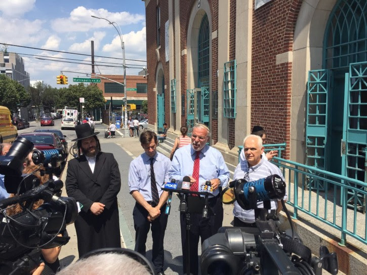Assemblyman Dov Hikind Praises NYC officials for Continuing Separate Gender Swimming Accommodations outside the Metropolitan Pool in the Williamsburg neighborhood in the Brooklyn borough of New York, Wednesday, July 6, 2016.