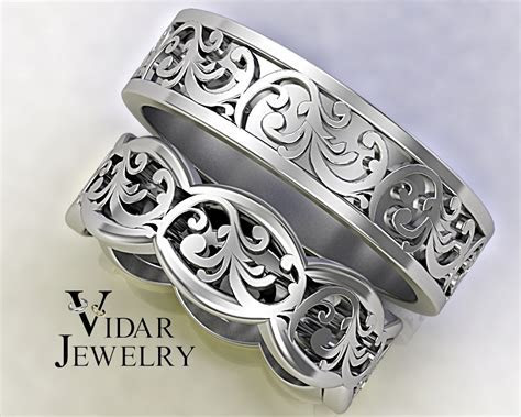 His And Hers Gold Wedding Band Set   Unique Leaf Design