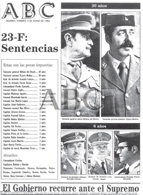 Portada del diario monárquico ABC. Sentencia del juicio 23-F.