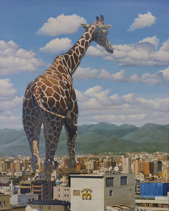 jirafa, gigante, ciudad
