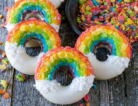 fruity pebble rainbow donuts    pretty