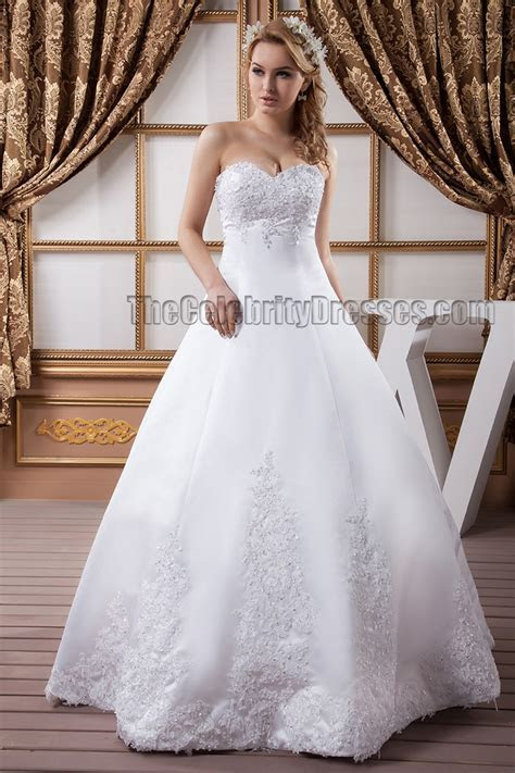 Floor Length A Line Strapless Sweetheart Beaded Wedding