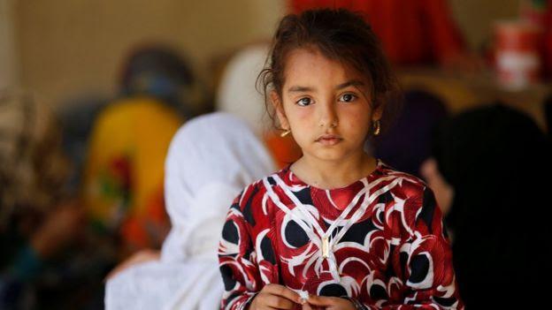 An Iraqi girl who fled fighting in Falluja