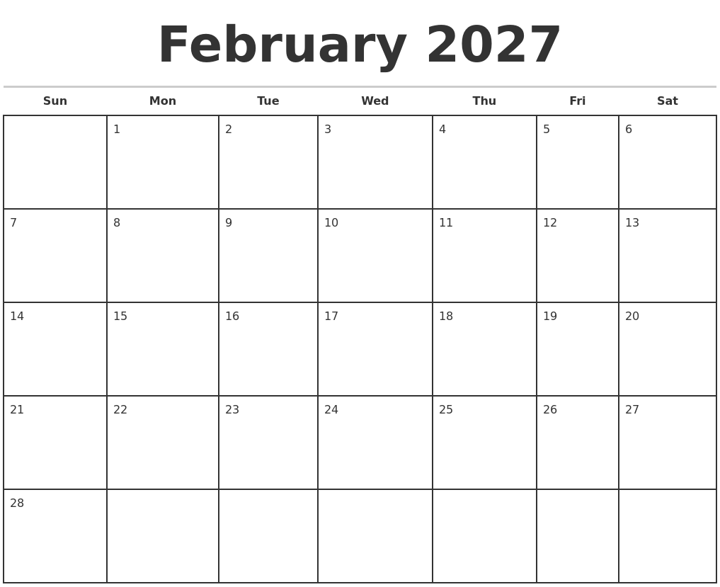 february 2027 monthly calendar template