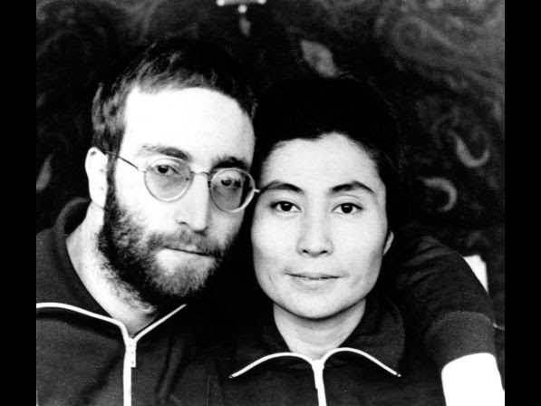 Beatle John Lennon and his wife, Yoko Ono, pose in short hair at their farmhouse retreat in North Jutland, Denmark, Jan. 23, 1970.