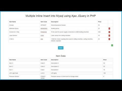 Multiple Inline Insert Into Mysql Using Ajax Jquery In Php Webslesson