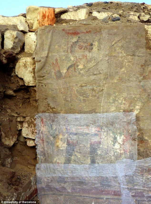 A miraculous discovery! An underground room dating from the sixth century holds an image of a young man with curly hair, who appears to be giving a blessing (pictured) and one expert thinks it could be one of the earliest paintings of Jesus Christ. The image, which is seen here, has been protected from the sun with a thin layer of material