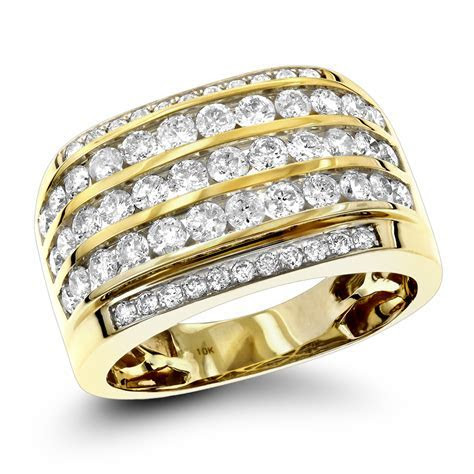 10K Gold Diamond Mens Ring 2.25ct Unique Diamond Wedding Band