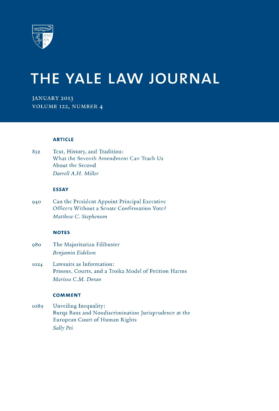 Yale Law Journal 2013 No 4 Explores Second Amendment Analysis Presidential Power To Appoint