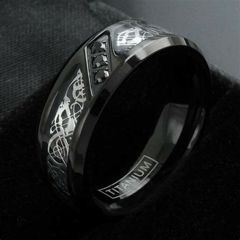black titanium mens celtic dragon  carat cz wedding