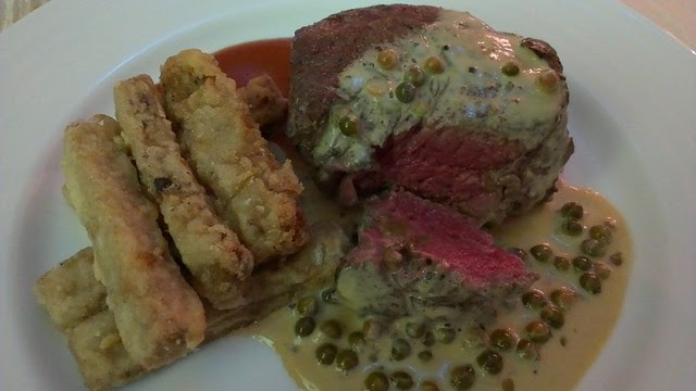 Steak Au Poivre with Polenta Fries