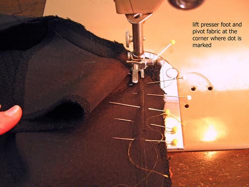 Coat lapel sewing corner