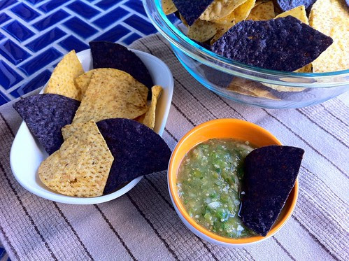 Tomatillo Salsa with Blue and Yellow Corn Chips Closeup 2