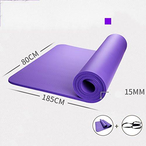 [GYD] Widening 80CM Thicker 15mm Yoga Mat Lengthen Beginner Tasteless Slip Fitness Mat Exercise Mat Yoga Mats ( Color : Purple )