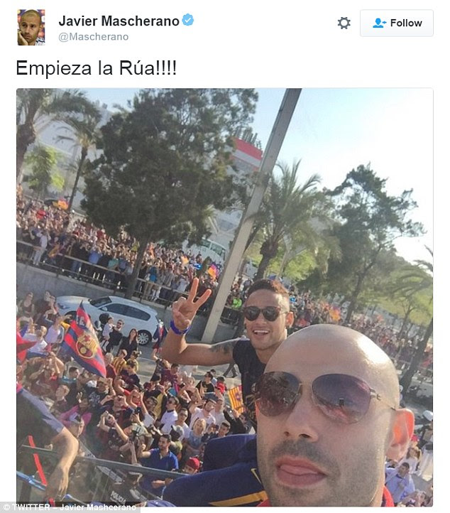 Mascherano uploaded this snap to his Twitter account as he posed with Neymar for a photo