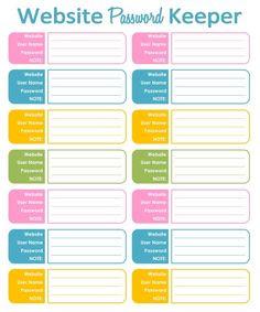 Password Log Organizer Tracker, Printable Editable PDF, for Letter ...