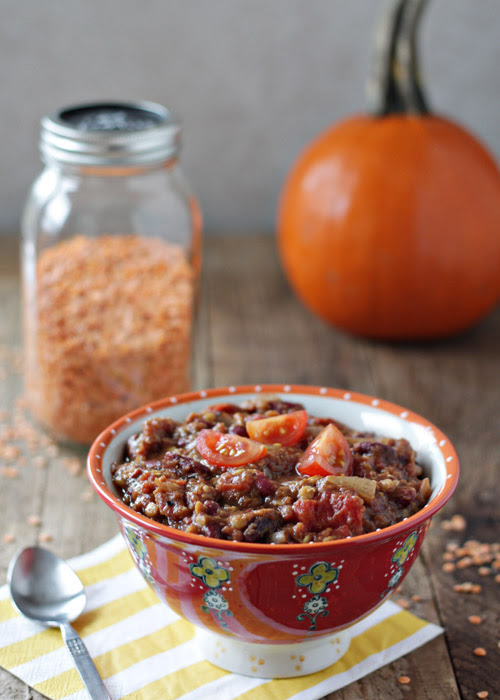 Crock Pot Pumpkin Red Lentil Chili | Kitchen Treaty
