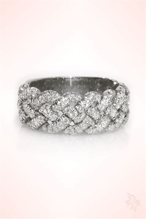 Braided Wedding Band, 0.8 CT Diamond Wedding Ring, 14K