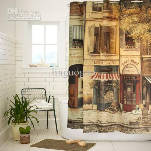 Buy cheap High Quality Polyester Cloth Print Vintage Bathroom ...
