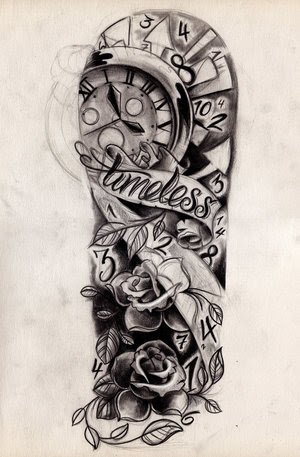 Awesome Grey Ink Half Sleeve Tattoo Designs