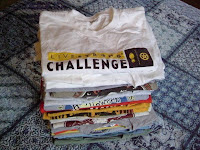 Twenty of the 600 or so cotton race shirts we three have collected in five years of racing