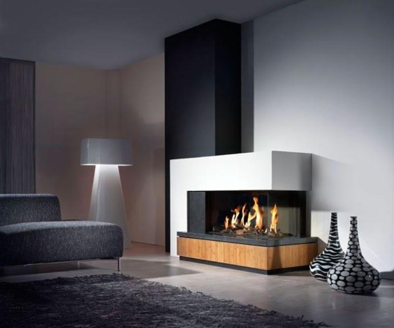 Beautiful Unique Contemporary Gas Fireplace Designs Photos